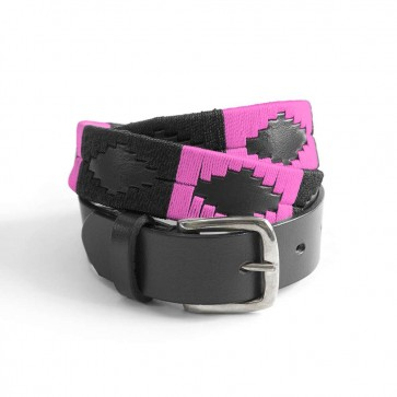 KM Black Polo Belt - Hot Pink/Black